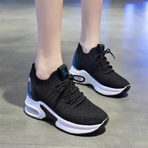 High Sole Mesh Pattern Breathable Sports Sneakers - Black