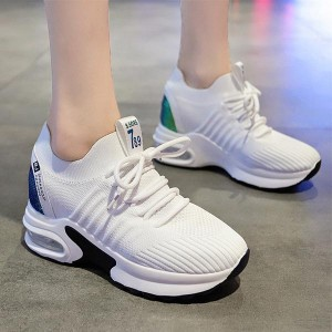 High Sole Mesh Pattern Breathable Sports Sneakers - White