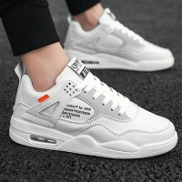 Pu Leather Rubber Sole Casual Running Sports Shoes - White