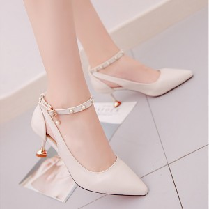 High Heels Hollow Buckle Rivet Shallow Mouth Shoes - Beige