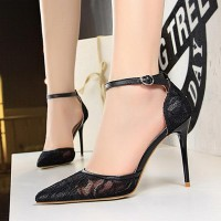 Sexy Stiletto Toe Lace Hollow Pointed Women Heels - Black