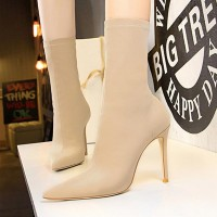 Solid Pattern Thin Heel Knee Length Heel Boots - Khaki