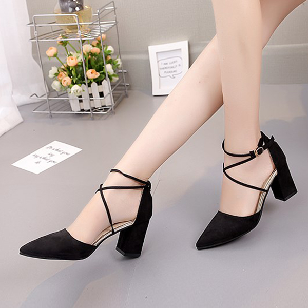 Double Straps Over Buckle Closure High Heels Sandals - Black