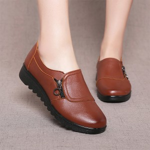 Zipper Synthetic Leather Formal Office Wear Shoes - Brown