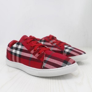 Canvas Checks Print Casual Wear Sneakers - Red