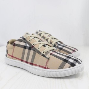 Canvas Checks Print Casual Wear Sneakers - Apricot