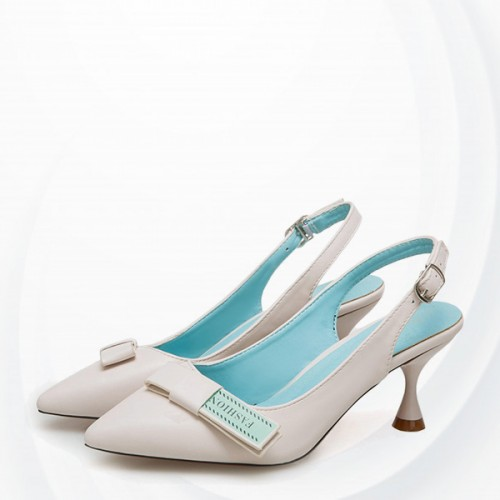 Buckled Summer High-heeled Buckle Fresh Pointed - White
