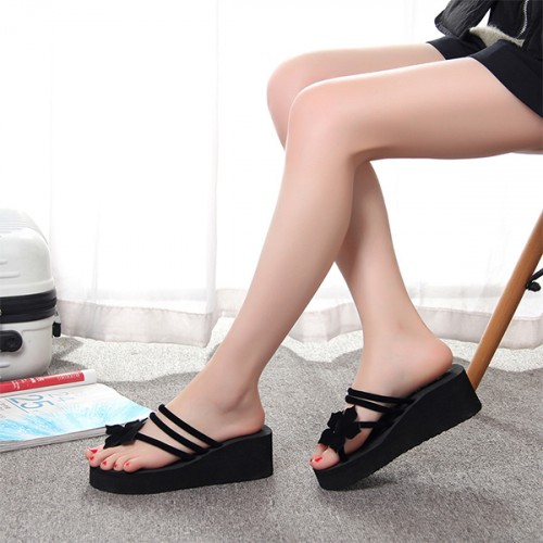 Floral Patched String Thick Bottom Sandals - Black