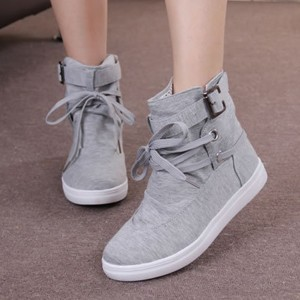 Boot Style Buckle Belt Flat Sneakers - Gray