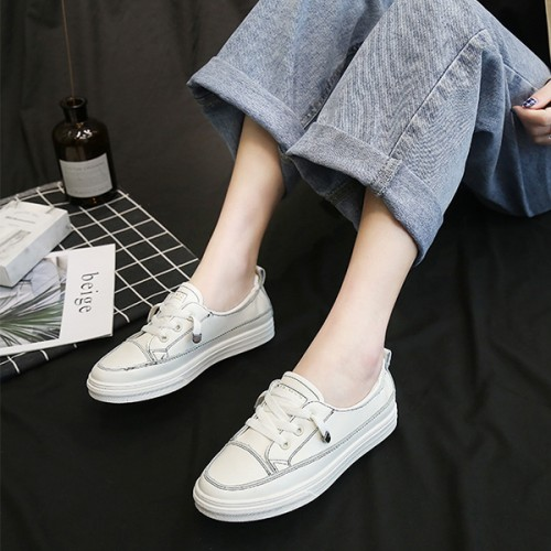 Synthetic Leather Flat Lace Casual Wear Sneakers - White