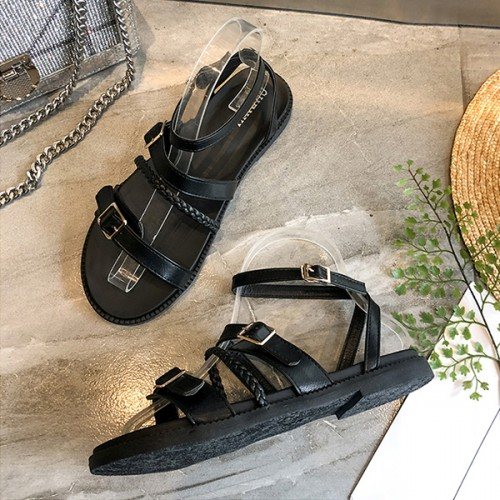 Buckle Rope Designed Flat Casual Sandals - Black