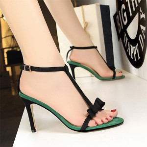 Bow Pattern Thick Stripes Thick Heels - Green
