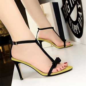 Bow Pattern Thick Stripes Thick Heels - Yellow