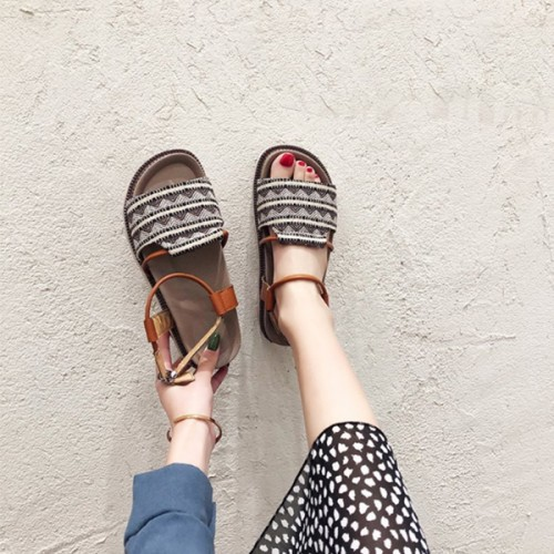 Bohemian Textured Thick Sole Sandals - Brown