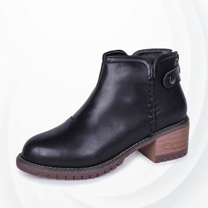 Non Slippy Hard Bottom Pu Leather Winter Boots - Black