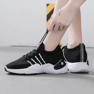 Breathable Flat Soft Rubber Sole Gym Sneakers - Black
