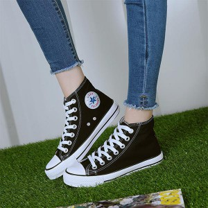 Casual Wear Almond Toe Canvas Sneakers - Black