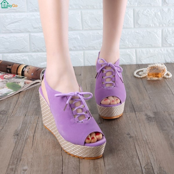 Thick Bottom Lace Up Suede Party Wear Women Sandals - Purple