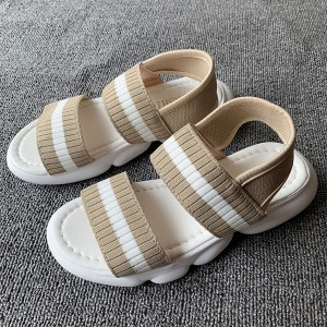 Canvas Summer Wear Rubber Base Casual Slippers - Khaki