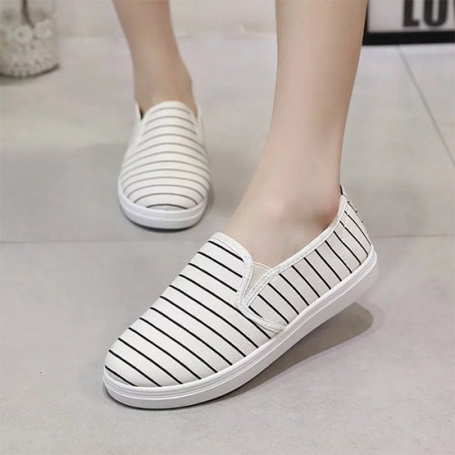 Striped Casual Sports Gym Female Shoes - White