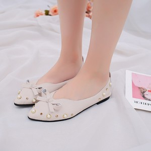 Bow Pointed Party Wear Flat Female Shoes - Beige