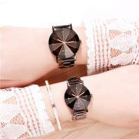 Steel Mesh Belt Stainless Quartz Couple Watches - Black