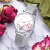 Cute Floral Dial Stainless Steel Wrist Watch - Pink