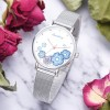 Cute Floral Dial Stainless Steel Wrist Watch - Blue