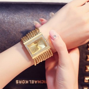 Luxury Ladies Diamond Stone Decorative Watches - Golden