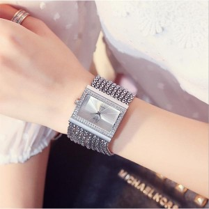 Luxury Ladies Diamond Stone Decorative Watches - Silver
